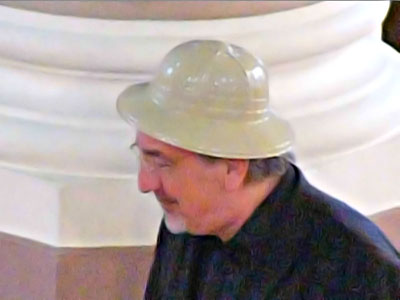 Peter Rueffer sporting an elegant but slightly undersized pith helmet